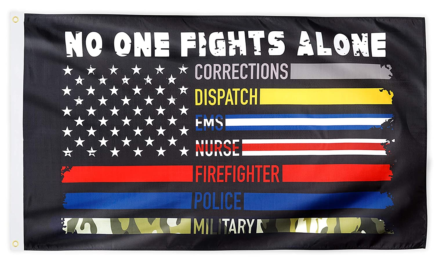 XIFAN No One Fights Alone Flag Heavyweight 2X Thick US American Flag First Responders Multi Thin Line 100D Polyester Flag Brass Grommets Outdoor Banner Decoration 3 X 5 FT