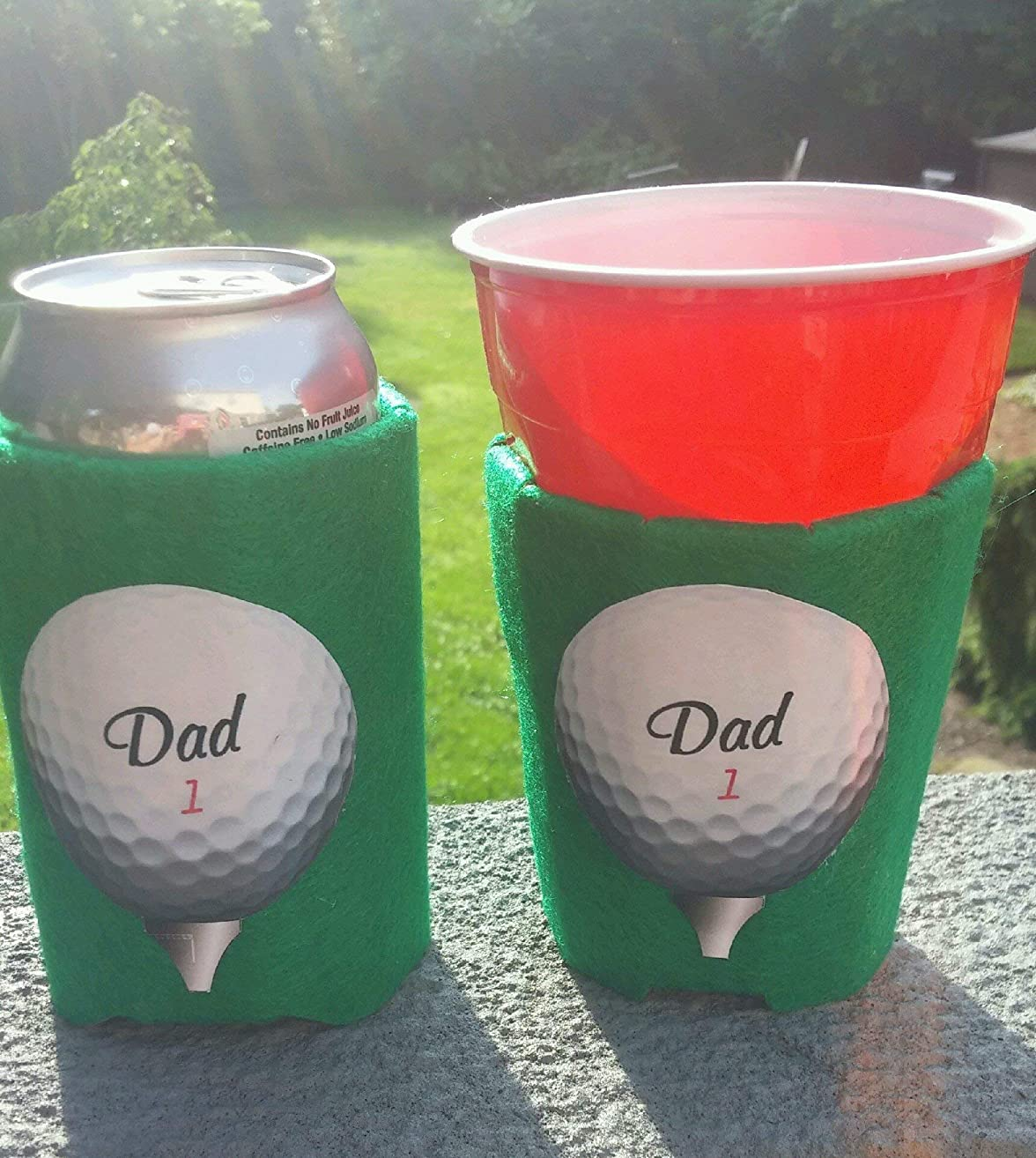 Golf Ball Dad 1 Beverage Insulator PocketHuggie Ecofriendly Starbucks, Beer, Solo Cup, Coffee Sleeve Can, Cup, Bottle