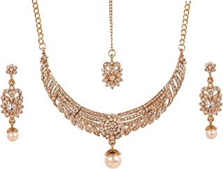 Touchstone Indian Bollywood Traditional Filigree Designer Jewelry Nekcklace Set in Gold Tone for Women.