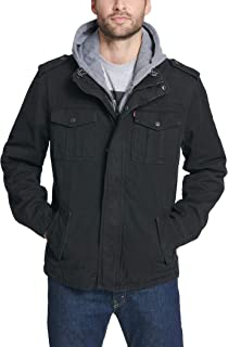 mens Washed Cotton Hooded Military Jacket