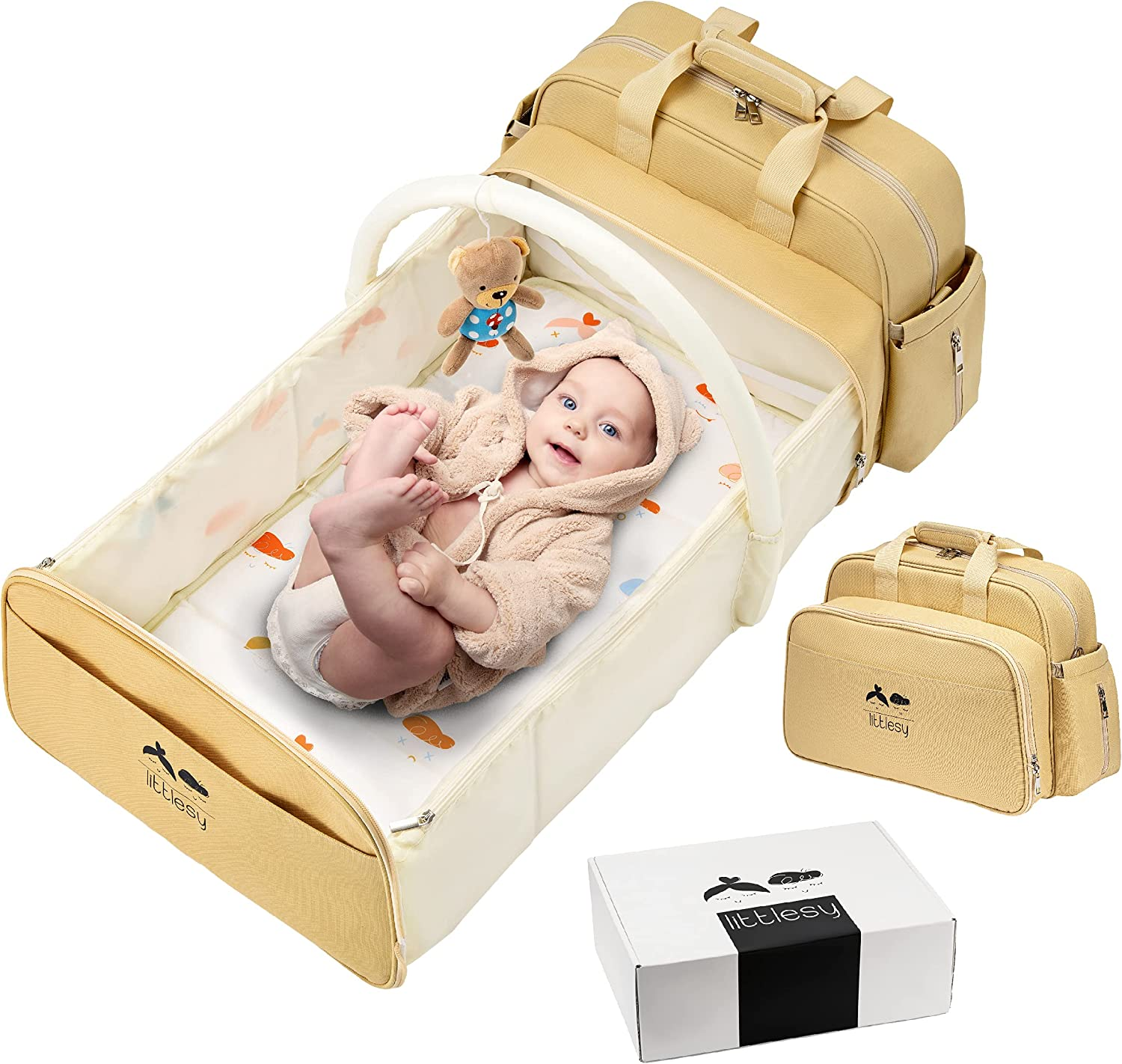 Littlesy Diaper Bag Backpack Changing Station – 6-in-1 Diaper Backpack Baby Bag with Folding Travel Bassinet Baby Changing Pad Waterproof Bag Portable Changing Pad Foldable Crib