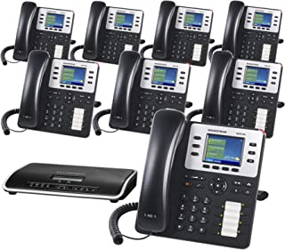 Grandstream Business Phone System Enhanced Package Including Auto Attendant, Voicemail, Cell & Remote Phone Extensions, Call Recording & Free Telco Depot Phone Service for 1 Year (8 Phone Bundle)
