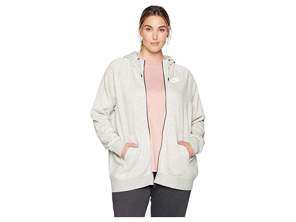 Nike Plus Size Rally Full Zip Extended Hoodie (Grey Heather/Pale Grey/White) Women