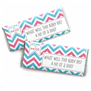 Chevron Gender Reveal - Candy Bar Wrappers Baby Shower or Gender Reveal Party Favors - Set of 24