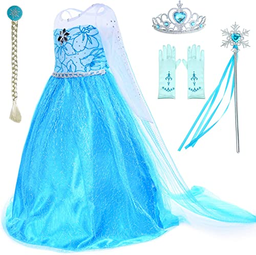 Party Chili Princess Costumes Birthday Party Dress Up for Little Girls with Wig,Crown,Mace,Gloves Accessories Age 2-1...