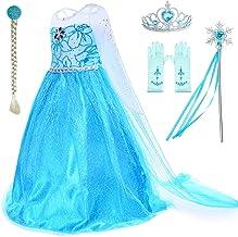Kids Girls Princess Queen Elsa Halloween Costume Dress Gown Size 9-10  #O51 mg