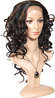 Rinboool Synthetic Lace Front Wigs for Black Women,18''Long Fashion Wavy,2 Tone Piano Color 1b Black Highlighted 30 Auburn Brown