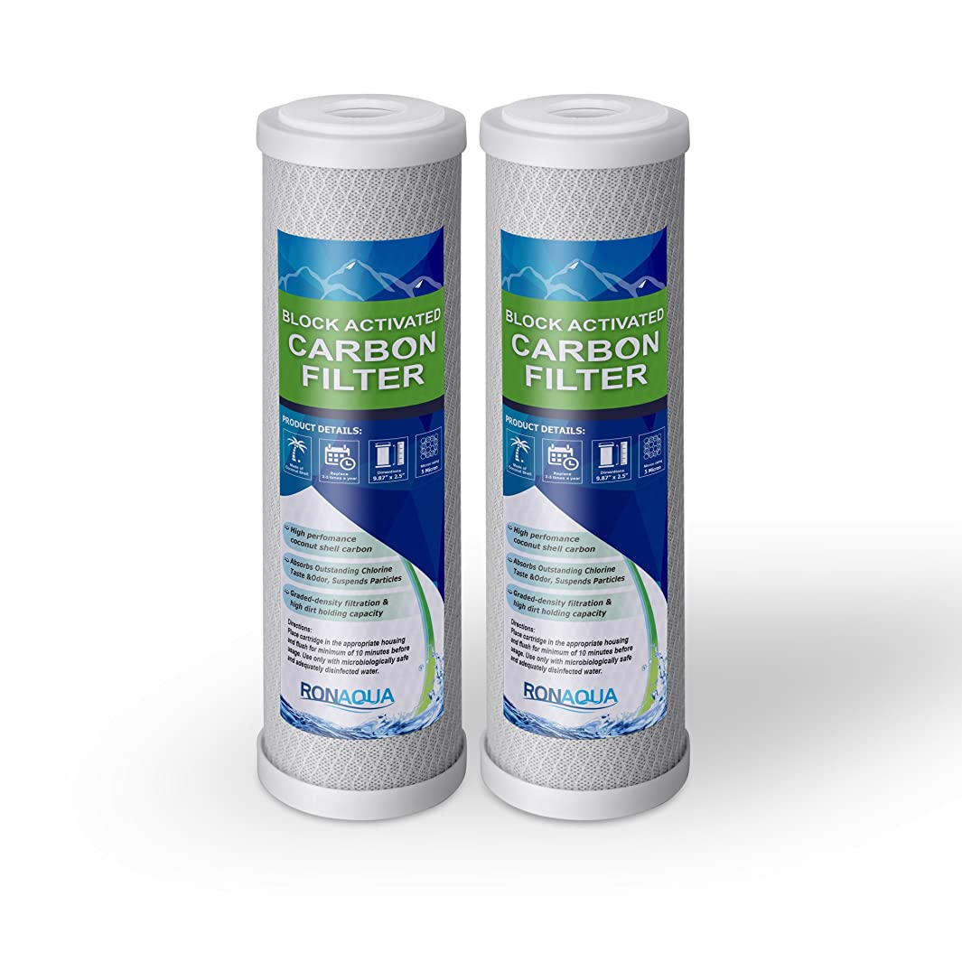"""Block Activated Carbon Coconut Shell Water Filter Cartridge 5 Micron for RO & Standard 10"""" Housing (2 Pack)"""