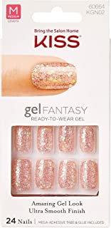Kiss Nails GEL FANTASY- Medium Design Nails w/Adhesive Tabs & Glue (KGN02-Rock Candy)