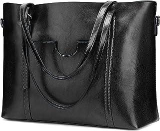 S-ZONE Damen 3-Way Schultertasche Vintage Echtleder Shopper Große Mode Laptop Arbeitstasche Umhängetasche Handtasche Messe...