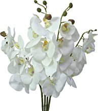 JAROWN 4 pcs 30 inch Orchid Flowers Artificial Fake Orquidias Faux Real Touch Phalaenopsis stem for Home Greenery Plant Leaves Wedding Decor(White)