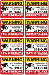 Video Surveillance Sign Reflective Sticker (8 Pack) - Decal Self Adhesive 4 x 3 Inches 4 Mil Vinyl Decal — Indoor & Outdoor Use — UV Protected & Waterproof — Sleek, Rounded Corners