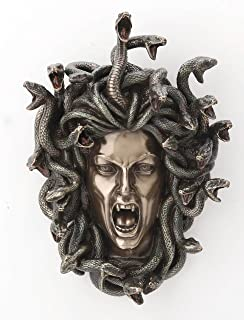 Veronese Design 7 1/4 Inch Greek Head Of Medusa Wall Plaque Cold Cast Resin Antique..