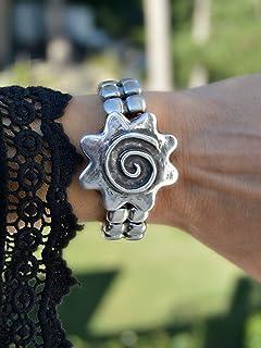 Bracciale per polsini in cuoio e zama d'argento in stile vichingo o celtico, gioielli moderni e casual