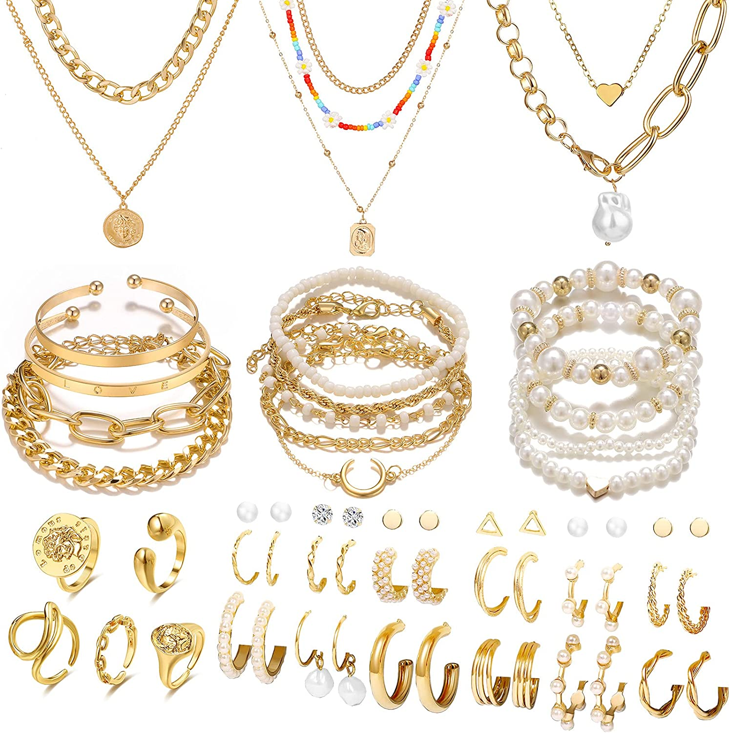 IFKM 41 PCS Gold Plated Jewelry Set with 5 PCS Necklace, 13 PCS Bracelet, 18 PCS Hoop Earrings, 5 PCS Knuckle Rings for Women Girls Valentine Anniversary Birthday Friendship Gift