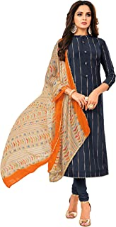 Rajnandini Women's Navy Blue Chanderi Silk Printed Semi-Stitched Salwar Suit Material With Printed Dupatta (Free Size)
