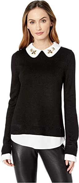 Bead Collar Long Sleeve Sweater 2-Pher