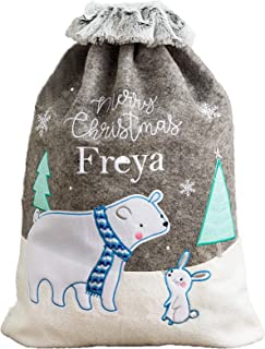 Santa Sack Customized Gift Bags with Embroidered Name — North Pole Gift Bags Personalized with Polar Bear Design