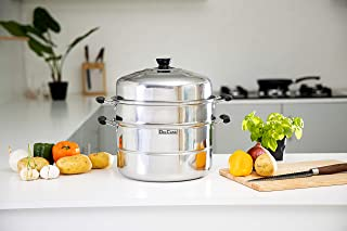 Delcasa DC1190 Induction-Safe Stainless Steel Large 3-Tier Food Steamer Pot with Lid| Double Layer Multi Food Cook Stock P...