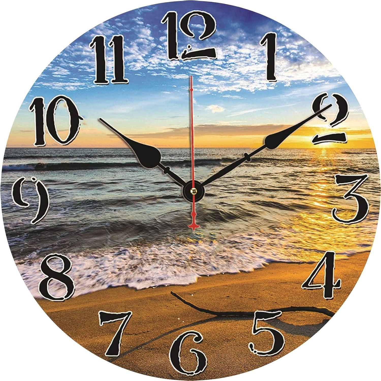 TAHEAT Playa Ondas Reloj de Pared, Silencio Sin tictac Relojes con Pilas, Fácil de Leer Decorativo Reloj de Pared para Dormitorio/ Cocina/ Sala de Estar/ Baño, 34 cm