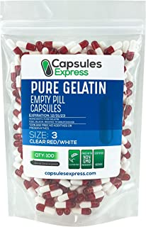 Capsules Express- Size 3 Clear Red and White Empty Gelatin Capsules- Kosher - Pure Gelatin Pill Capsule - DIY Powder Filli...