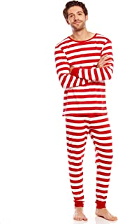 Men's Pajamas Fitted Striped Christmas 2 Piece Pjs Set...