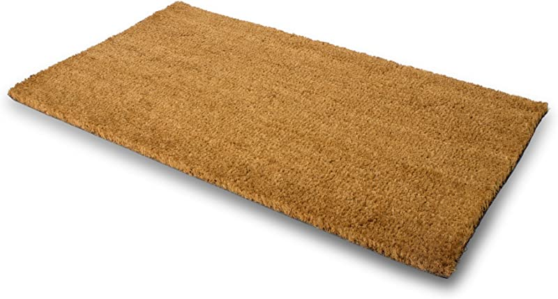 PLUS Haven Pure Coco Coir Doormat With Heavy Duty PVC Backing Natural Size 18 Inches X 30 Inches Pile Height 0 6 Inches Perfect Color Sizing For Outdoor Indoor Uses
