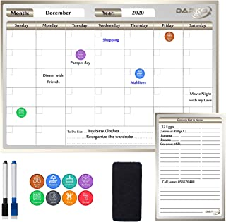 Fridge Calendar Monthly Weekly Multipurpose Magnetic Board, No Stains, Family Homeschool Organizer, To Do list and Grocery...