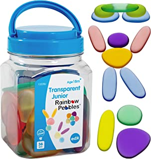 edx education Junior Rainbow Pebbles - Clear Colors - Mini Jar - Ages 18M+ - Sorting and Stacking Stones - Early Math Mani...