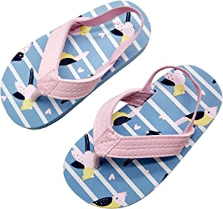 Coralup Kids Beach Water Shoes Backstrap Flip Flops Non-Slip Slippers for Boys Girls