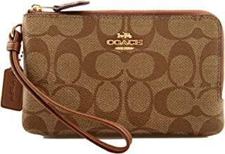 Coach Signature PVC Double Corner Zip Wristlet Wallet