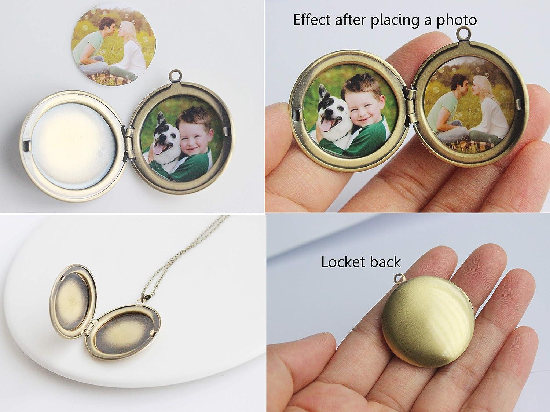 SI EASY Unique Pendant Locket Necklace,3D Embossed Charm Lockets