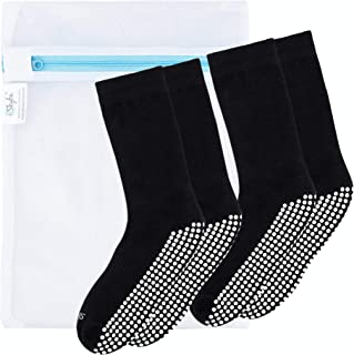 Skyba, Calcetines Antideslizantes Suela Para Andar por Casa- Calcetines de Hospital Cómodos Tipo Zapatilla - Hombres Mujeres Adultos Calcetín por Pilates Yoga (2 Pares- Negro)