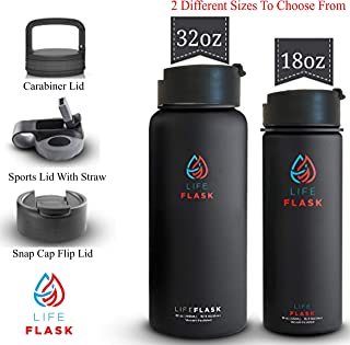LIFEFLASK Vacuum Insulated Stainless Steel Water Bottle Thermos + 3 Lids With Lifetime Replacement - Shaker Water Bottle Double Wall Vacuum Insulated Stainless Steel - 18oz OR 32oz Sports Water Bottle