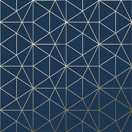 Papier Peint Metro Prisme Géométrique Triangle   Bleu Marine Et Or   WOW008  World Of Wallpaper