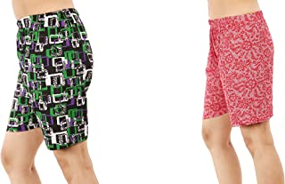 MUKHAKSH (Combo of 2 Pack) Girls/Women/Ladies Hot/Latest Multi Colour Shorts for Nightwear/Lounge Wear/Casual Wear (Print May Vary) (Free Size 26 to 36 Waist)