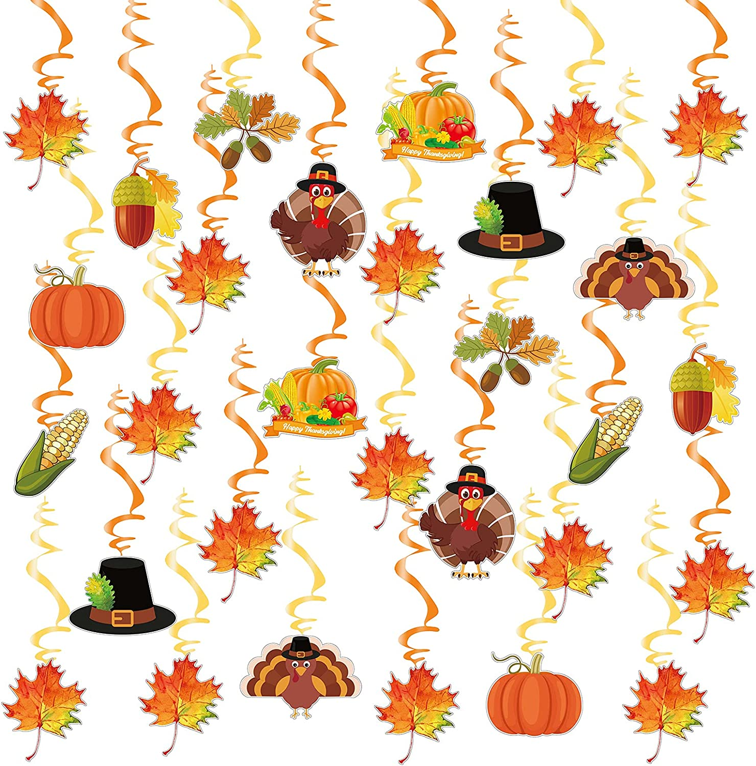 30 Pcs Fall Hanging Swirls Thanksgiving Decorations Pumpkin Maple Leaves Flower Turkey Autumn Hanging Swirls Ceiling Streamers for Home Office Indoor Outdoor Fall Harvest Party Supplies