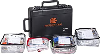 Emergency Case - Car Survival Kit - 2 Person 4 Days for Earthquake, Hurricane, Flood, Tornado, Wildfire - Contains Fix-A-Flat, Jumper Cables, Tow Rope, Ice Scraper and More