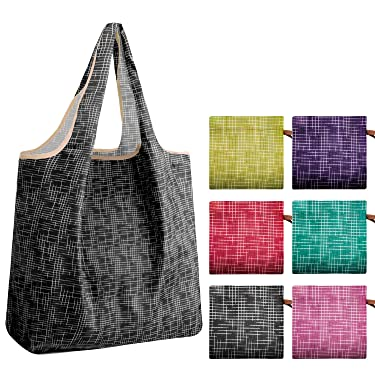 REGER Cloth Shopping Tote Groceries Lined Bags Compact Pocket Light Weight Durable Eco Friendly Machine Washable 35lbs Capacity Purple Teal(Cube Pattern,Pack of 6)