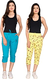 StyleAone Women Cotton Printed Capris (Pack of 2)