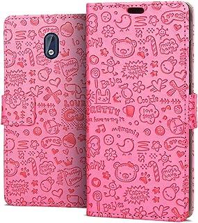 4d8b26fff2e RIFFUE Funda Nokia 3, Carcasa Libro Suave Delgada con Tapa Flip Dibujo  Bonito de Piel