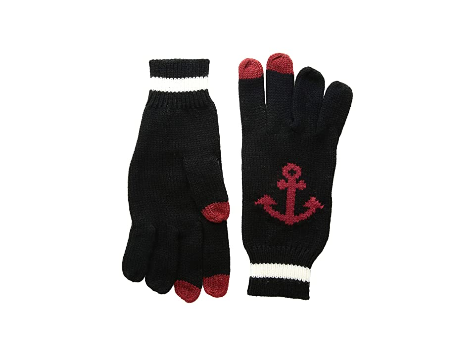 San Diego Hat Company KNG3480 Knit Gloves with Anchor and Tech Fingertips (Black) Dress Gloves