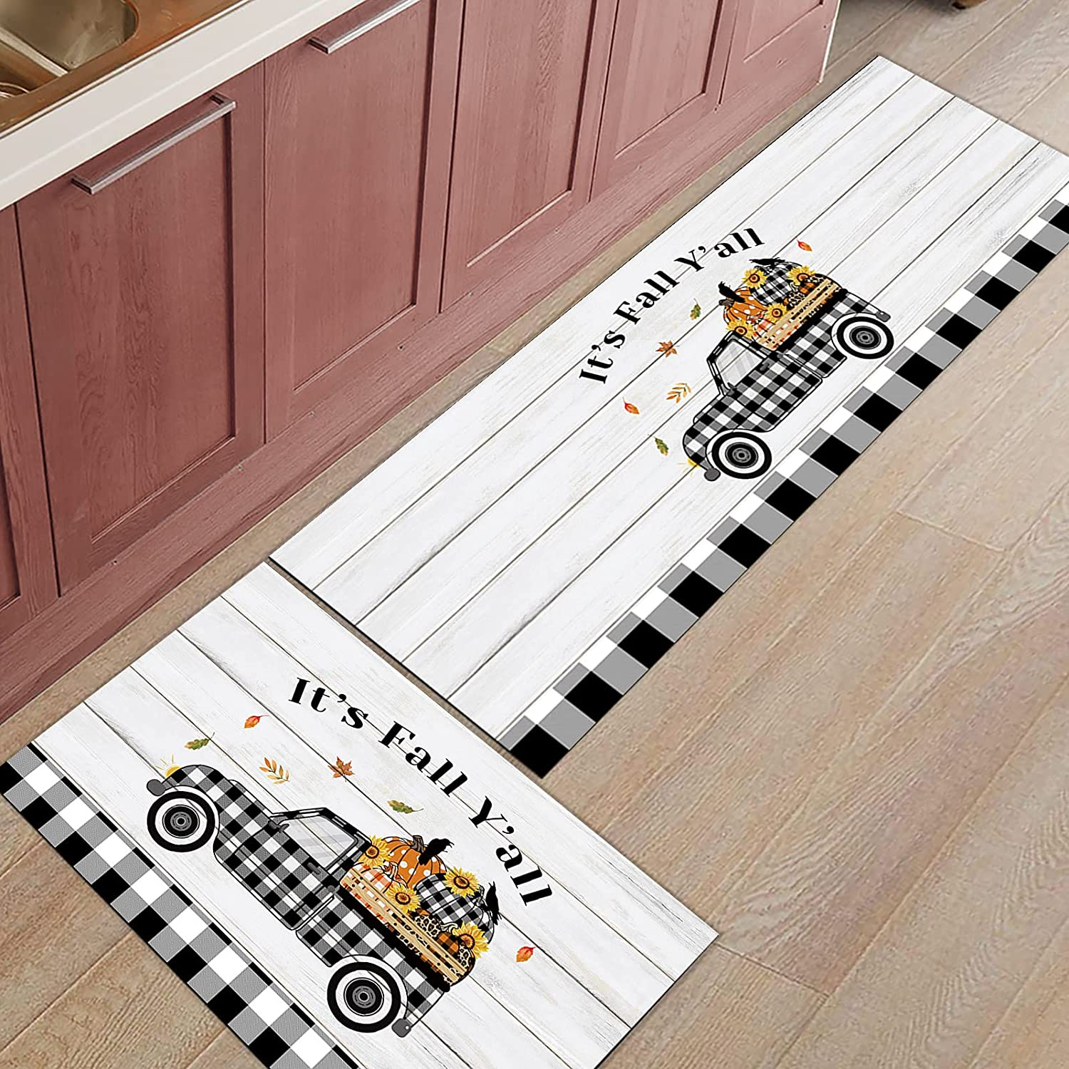Kitchen Runner Max 49% OFF Rug Carpet 2 Piece Set shipfree It's Y' Fall Thanksgiving