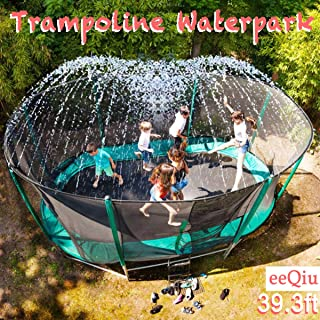 eeQiu Trampoline Sprinkler for Kids, Outdoor Trampoline Water Play Sprinklers, Fun Summer Backyard Water Park Toy for Boys and Girls (39ft, Black )