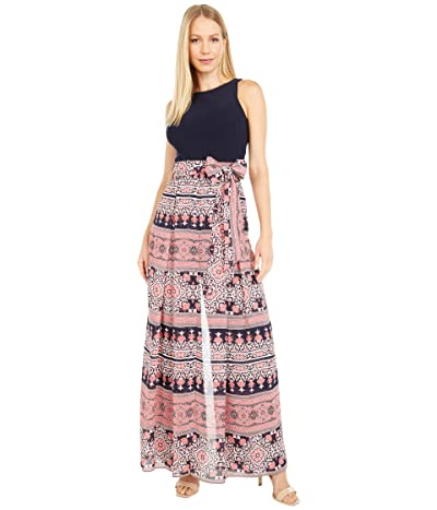 Vince Camuto Printed Chiffon and Jersey Twofer Jumpsuit with Wrap Front Pants (Navy Multi) Women