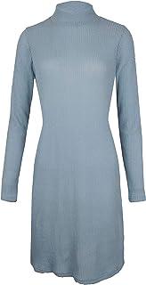 MAJECLO Women's Slim Fit Knit Turtleneck Long Sleeve Sweater Midi Dress