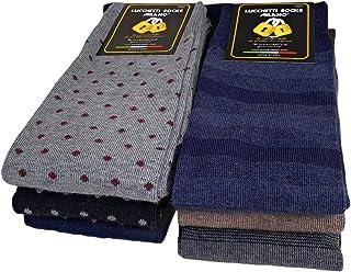 Lucchetti Socks Milano, Juego de 6 pares de calcetines largos para hombre, cálidos, de algodón, de colores, con diseño de lunares, de moda, fabricado en Italia