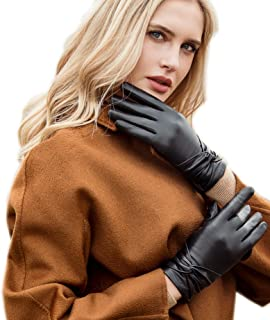 YISEVEN Women's Touchscreen Lambskin Dress Leather Gloves with Knot