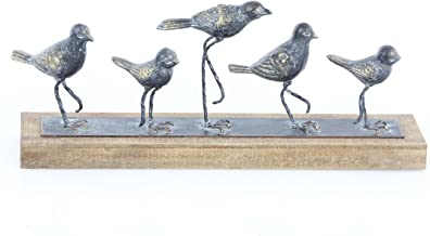 Deco 79 59430 Silver Iron Birds Sculpture on Wooden Base, Gray/Brown