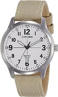 Citizen BI1050-05A White Dial Brown Nylon Strap Men's Quartz Analog Watch